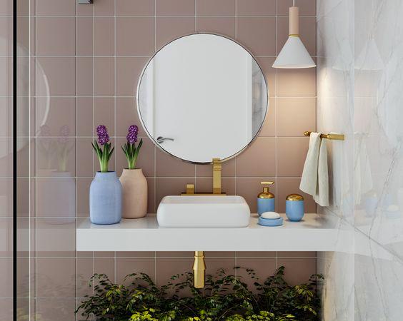 Pia para banheiros pequenos e decorados.