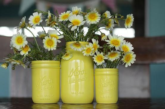 mason jar DIY paint floral containers