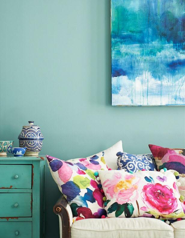 Almofadas coloridas com aquarela