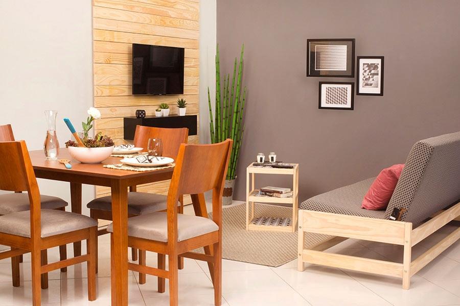 Sala de estar integrada com sala de jantar