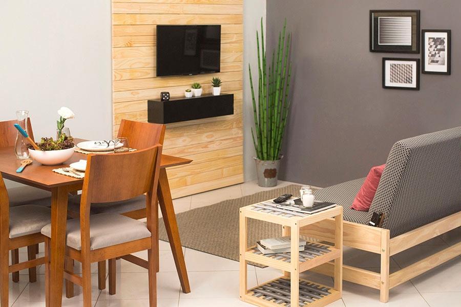 Sala de jantar com living