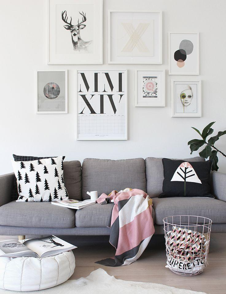 Sof cinza na decora o for Como decorar una pared de salon