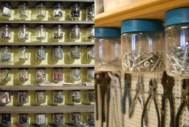 como organizar os pequenos utensílios da sua garagem