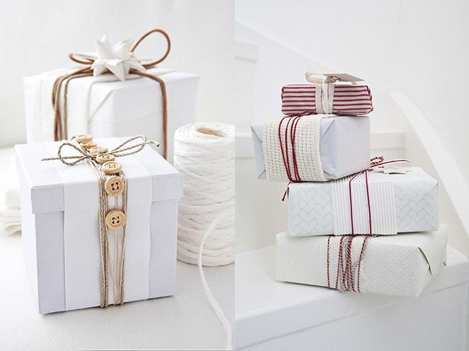 como fazer embalagem de presente com botoes e tecido