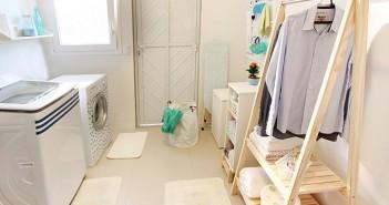 lavanderia organizada e funcional com toques de cor