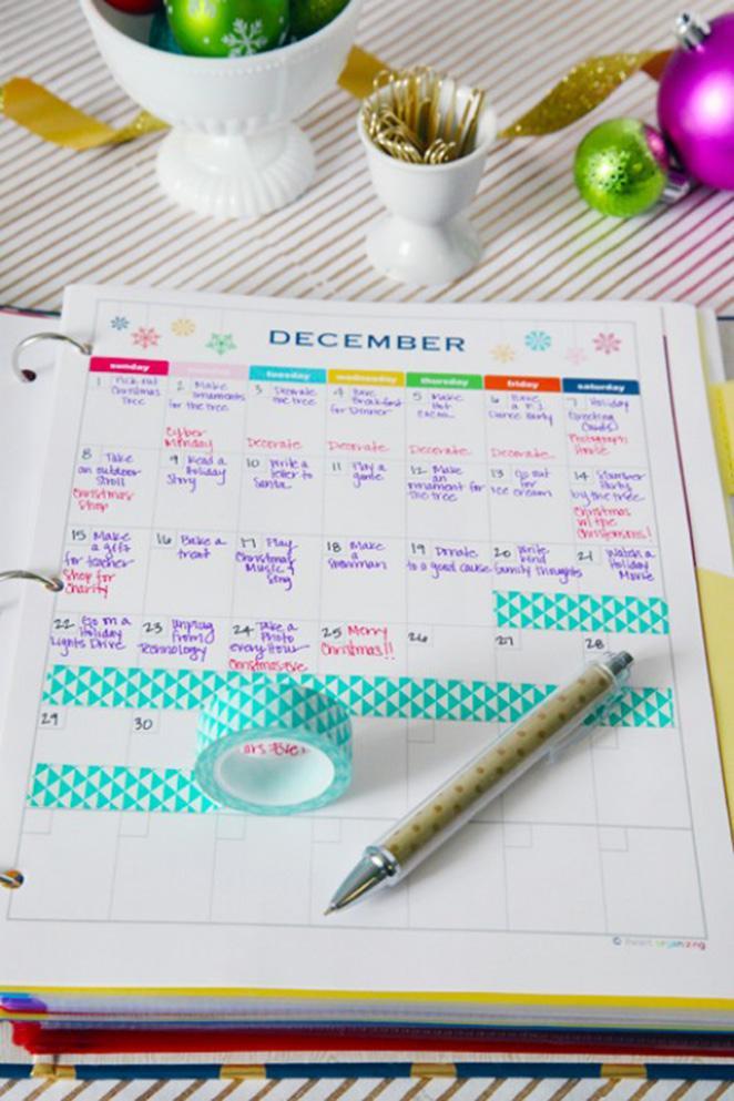 Monte um calendario de tarefas e atividades para o final do ano