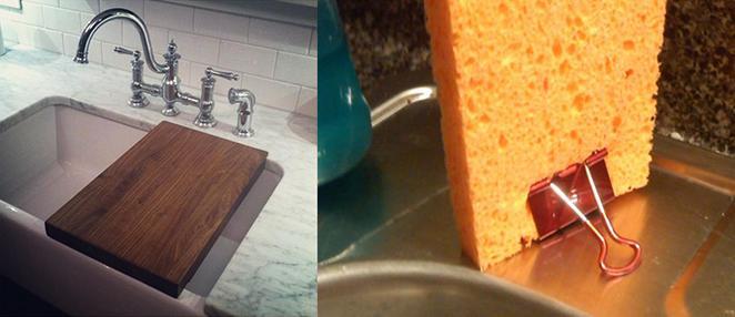 Cozinha como decorar e organizar com tabua de cortar alimentos e prendedor para secar a esponja