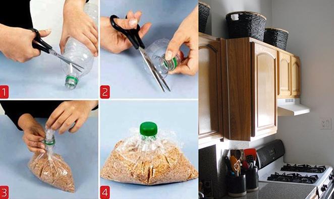 Cozinha como decorar e organizar com tampas de garrafas pet e caixas organizadoras