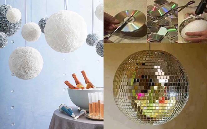 Decoracao de ano novo simples com bolas de forminha de doces e de espelho