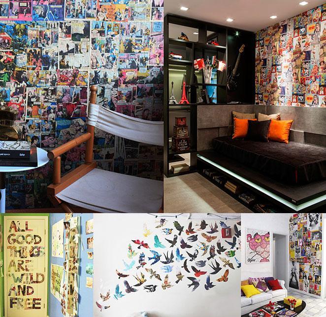 Como decorar a parede com quadrinhos e revistas