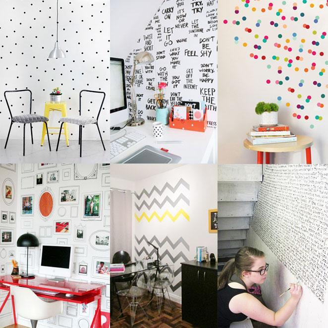 como decorar a parede com estencil, washi tape ou canetinha
