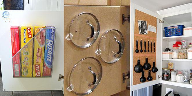 Como organizar armarios de cozinha aproveitando o espaco da porta