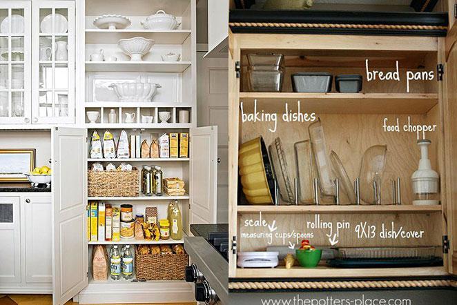 como organizar armarios de cozinha com caixas organizadoras e como guardar formas