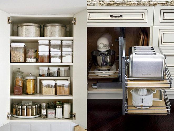 como organizar armarios de cozinha com potes