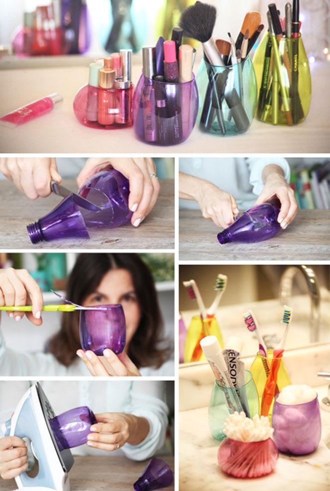 como reciclar garrafa pet criando utensilios para o banheiro