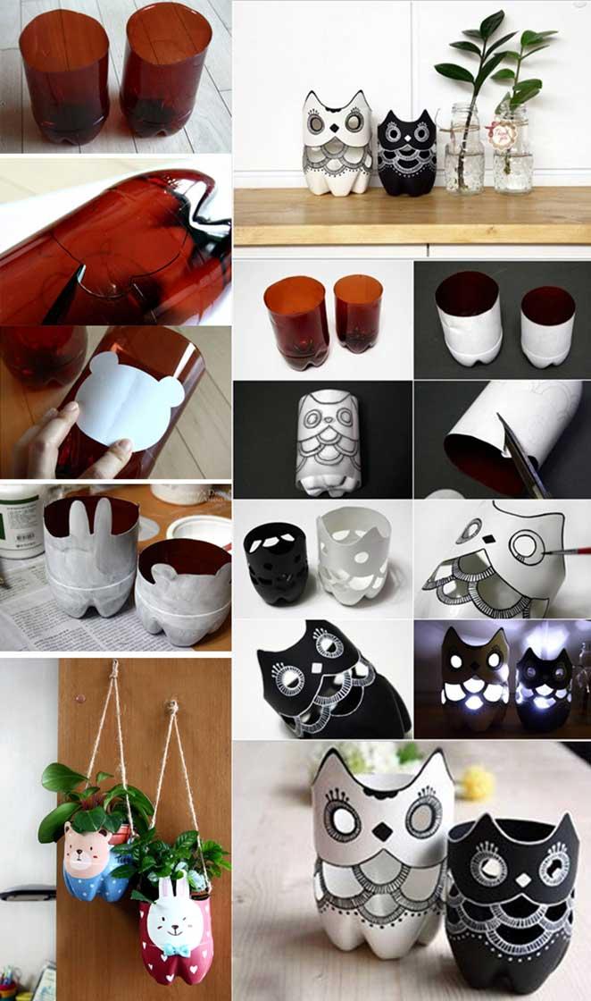 como reciclar garrafa pet fazendo cachepo e porta-velas