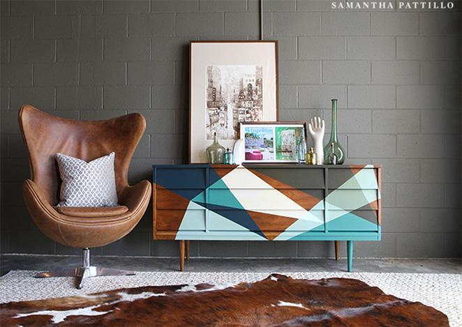 como reformar um balcao de madeira com pintura geometrica