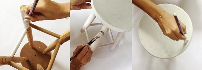 Como reformar uma banqueta de madeira com tinta branca