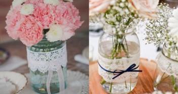 garrafas e potes decorados com renda