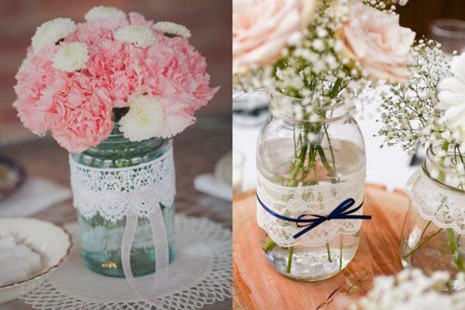 Garrafas e potes decorados # Decorar Garrafas De Vidro Com Renda