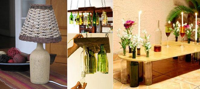 garrafas e potes decorados como base para moveis e objetos de decoracao