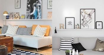 como decorar prateleira atras do sofa