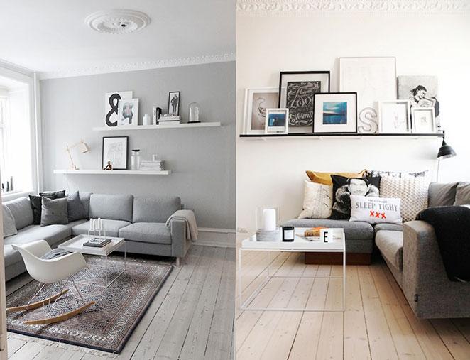 prateleira atras de sofa em formato L