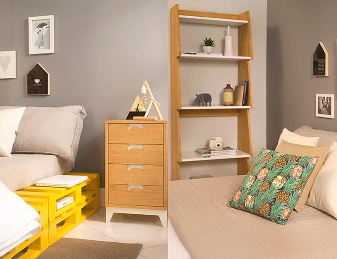 quarto de casal decorado com estante e gaveteiro