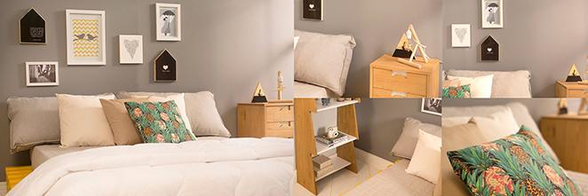quarto de casal decorado com cores neutras e toques coloridos