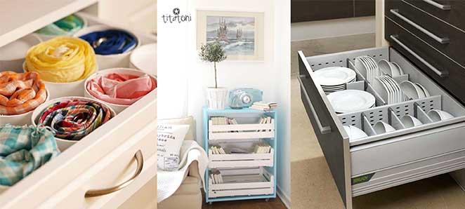 como guardar objetos pequenos em gaveteiros