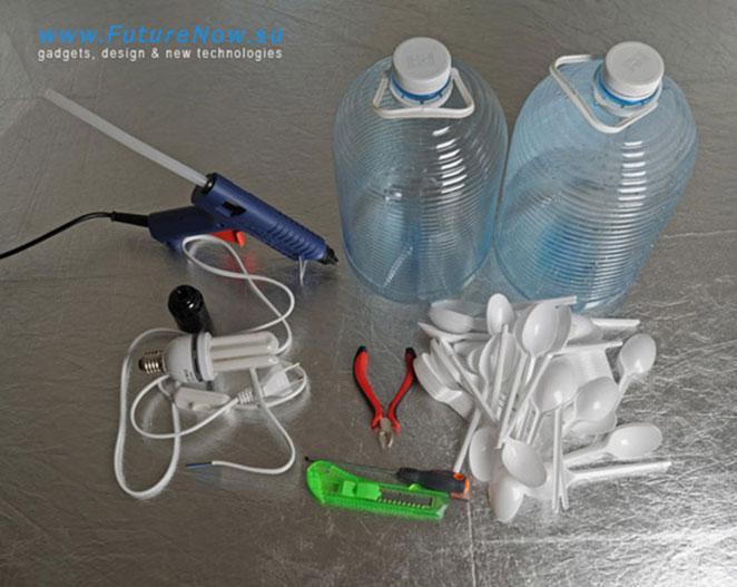 materiais para passo a passo de como fazer luminaria de colher de plastico