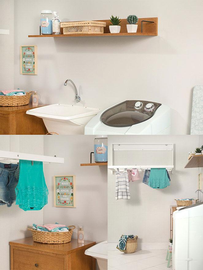 lavanderia pequena e organizada com prateleira e cestas