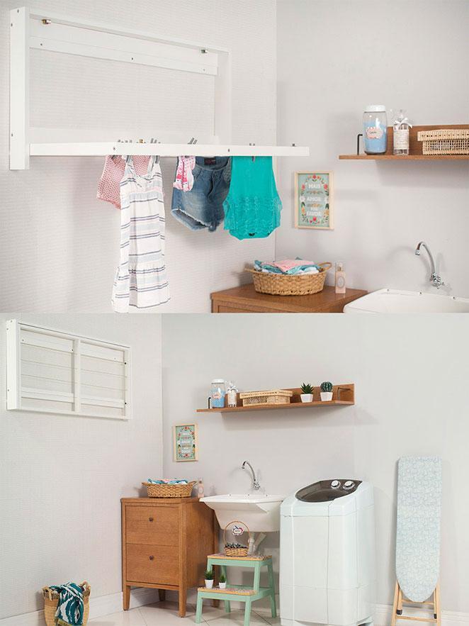 lavandeira pequena e organizada com varal dobravel