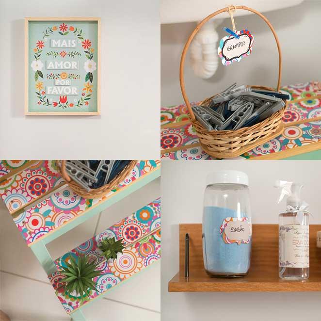 detalhes de uma lavanderia pequena e organizada