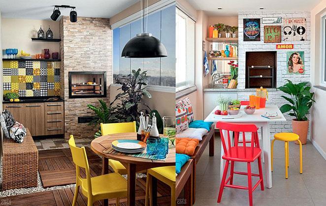 sala com varanda gourmet colorida