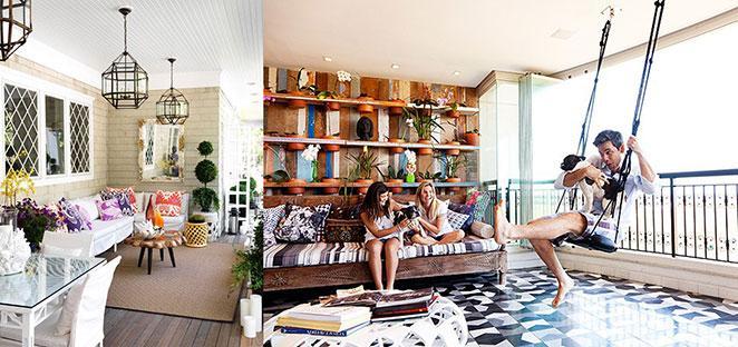 aposte em móveis amadeirados para mobiliar e decorar sua sala com varanda gourmet