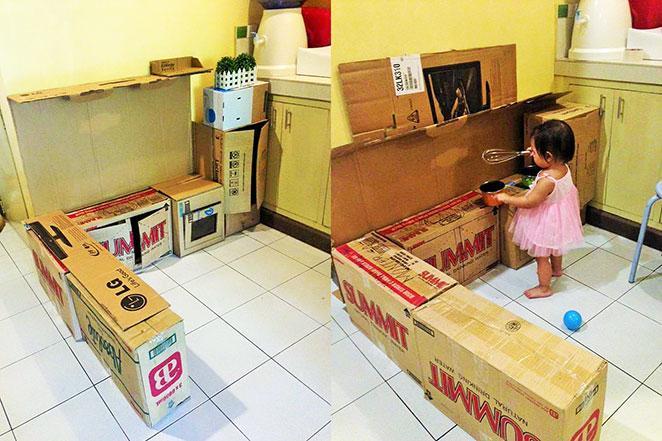 como fazer uma casinha de brinquedo de papelao preparacao das caixas