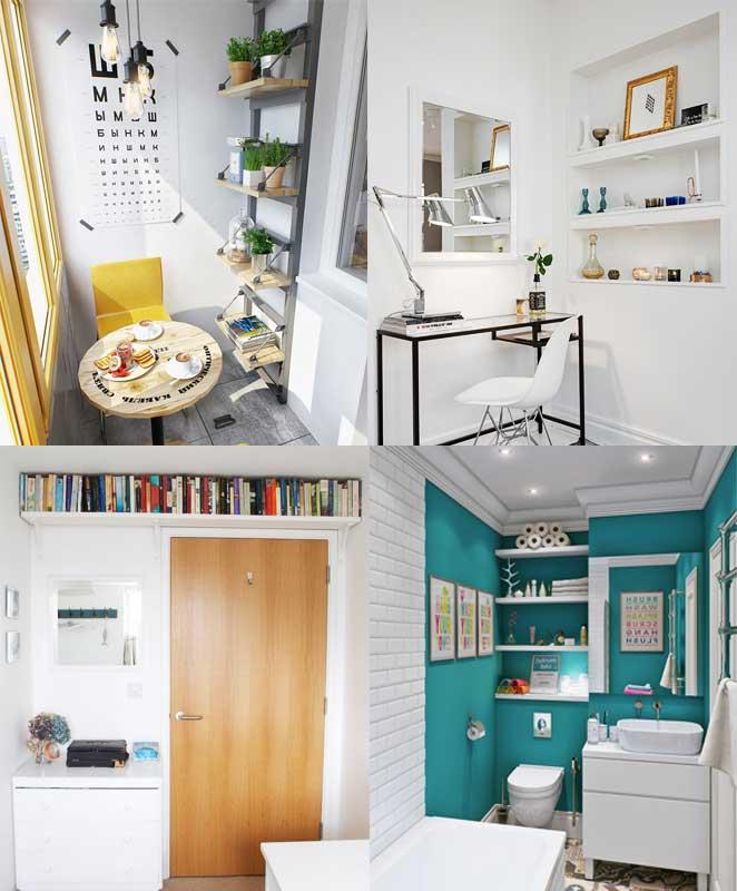 como mobiliar um apartamento pequeno e simples usando prateleiras