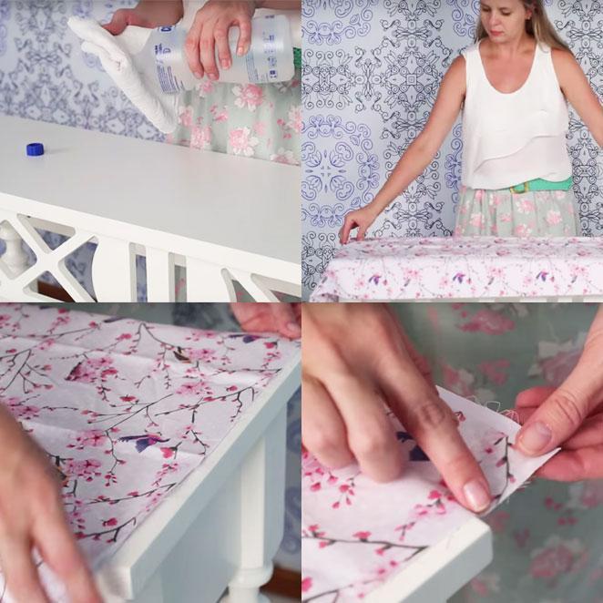 primeiros passos de como revestir um movel com tecido