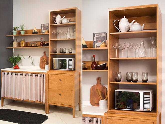 cozinha pequena decorada com armários e torre para forno