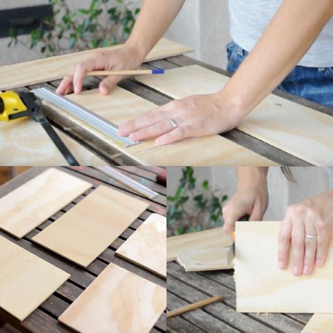 como cortar as madeiras para fazer uma luminaria de casinha