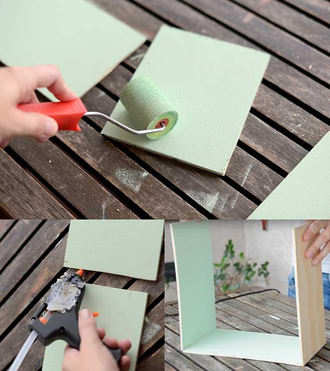 como pintar e colar as madeiras de uma luminaria de casinha