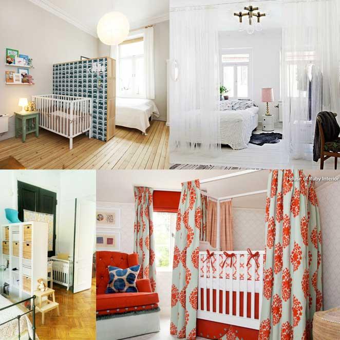 como escolher cortinas para separar o quarto compartilhado com o bebe