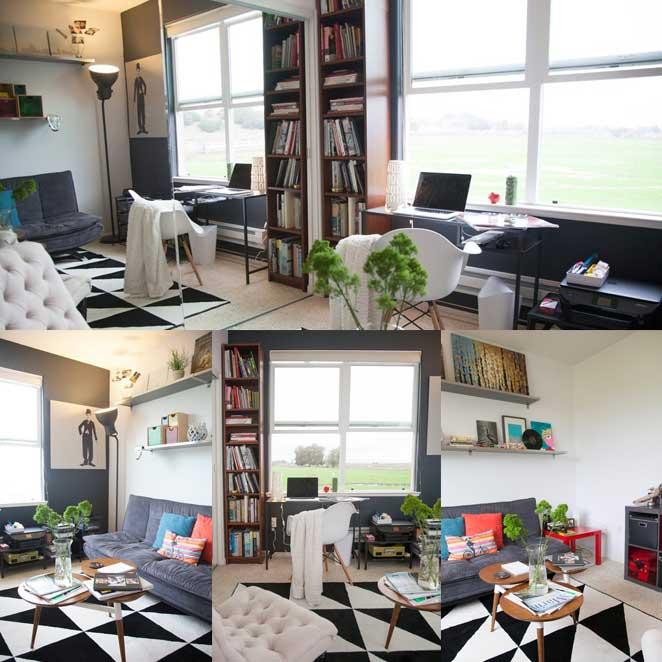 escritorio com quarto de visitas em apartamento pequeno e bem decorado