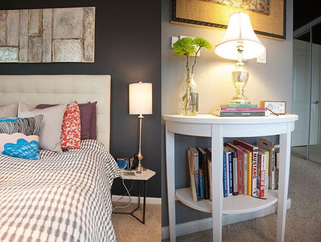 quarto de apartamento pequeno e bem decorado