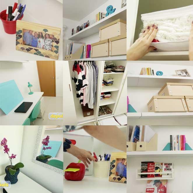 detalhes de decoracao de um closet pequeno com escritorio
