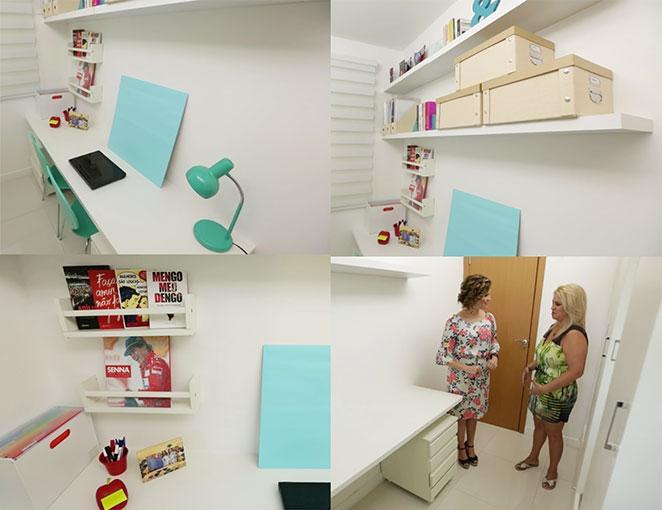 escritorio de closet pequeno com escritorio