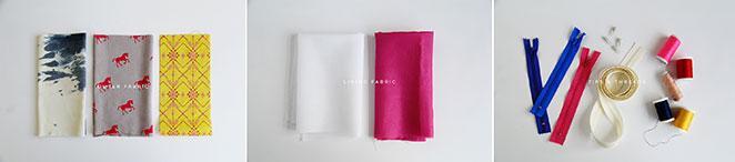 materiais para DIY pouch bag