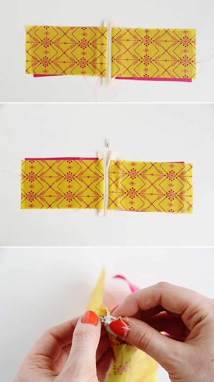 aplicando o ziper na sua pouch bag DIY