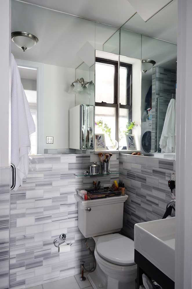 Apartamento pequeno decorado -> Banheiros Apto Pequeno